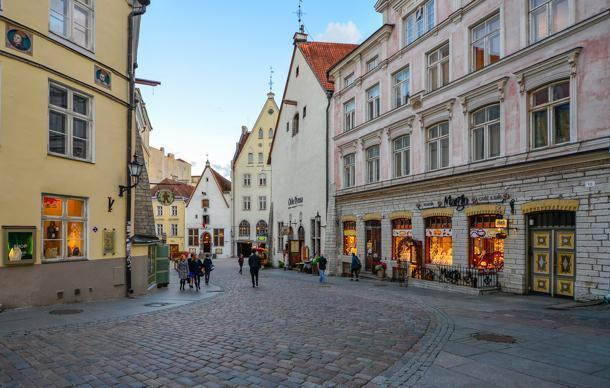 The colourful streets of Tallinn's Old Town.