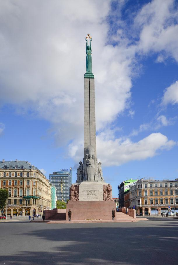 Riga's Freedom Monument commemorates Latvia's independence.