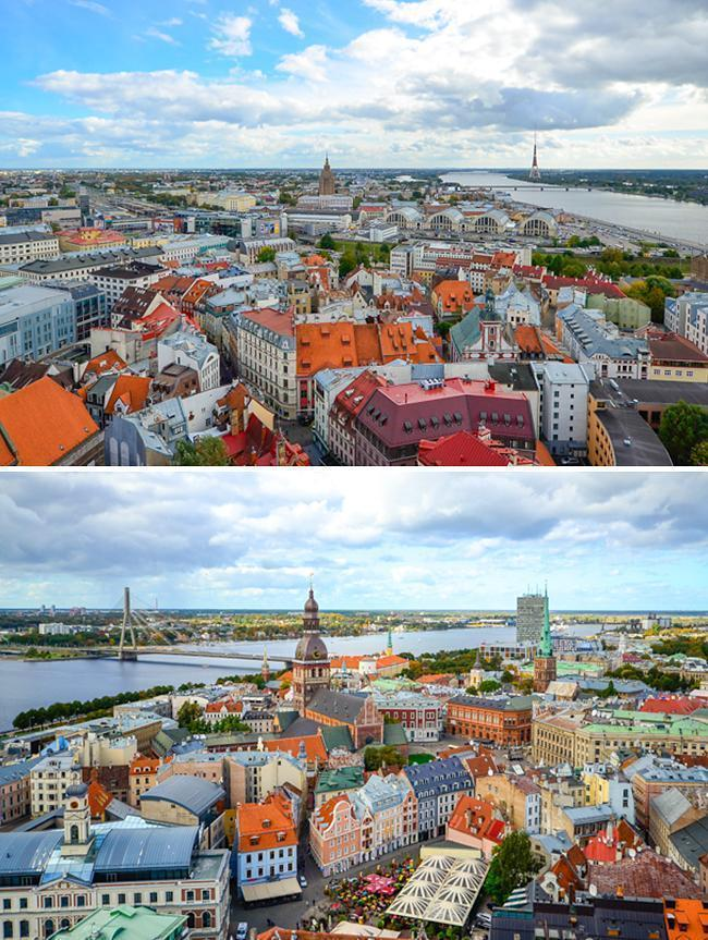 Riga's stunning skyline as viewed from St. Peter's Church.