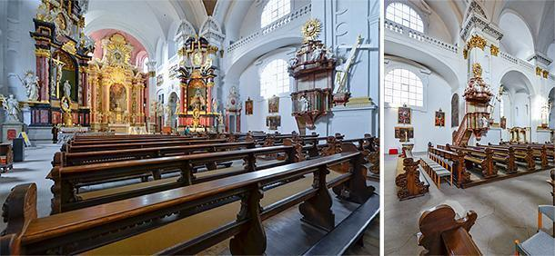 Inside St. Martin Church in Bamberg, Germany