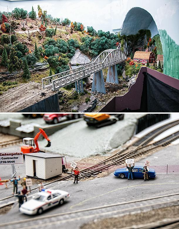 New Brunswick's railways in miniature - right down to the striking workers.
