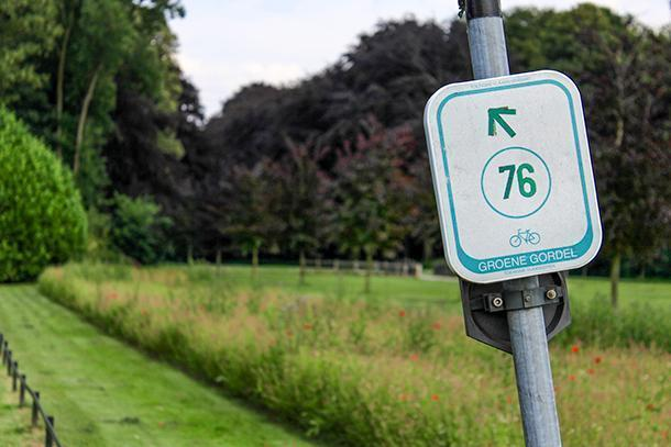 Following the node signs on the Green Belt in Flemish Brabant, Belgium