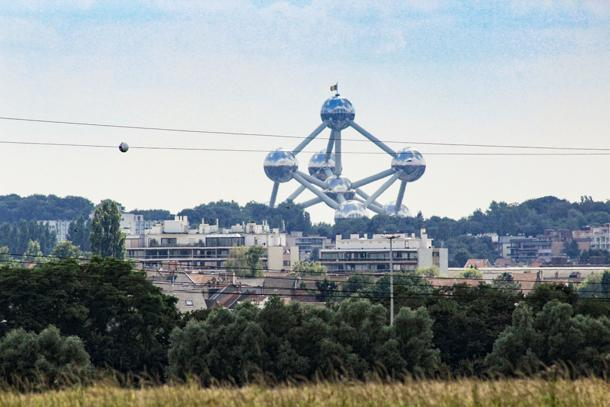 A peek at the Atomium on the Brussels skyline from the Green Belt