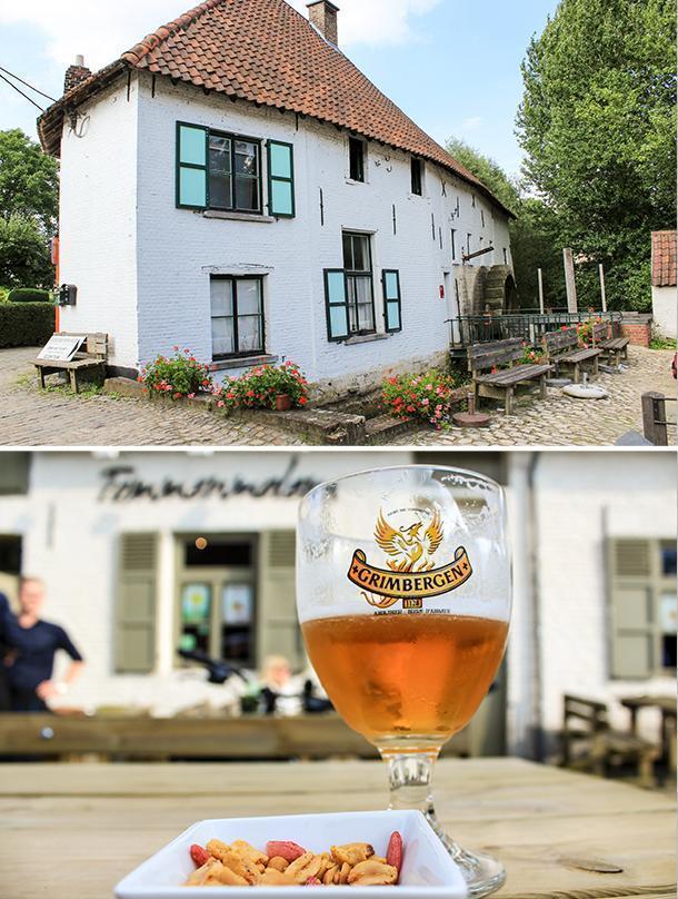 Enjoying a Grimbergen beer at the Tommenmolen, in Grimbergen, Belgium