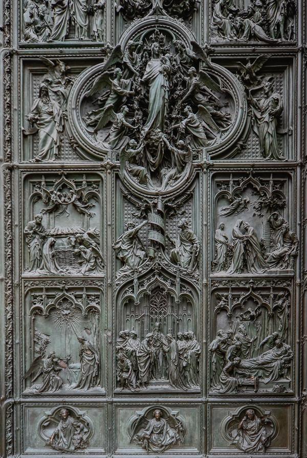 A closer look at the Duomo's door details