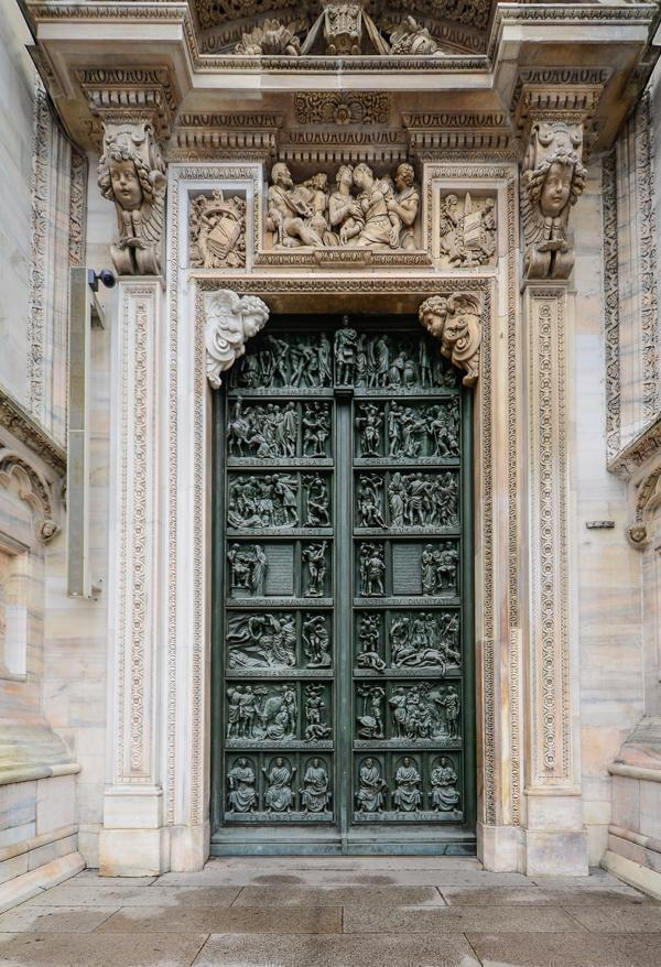 The Duomo's exterior details, like this door, are striking.