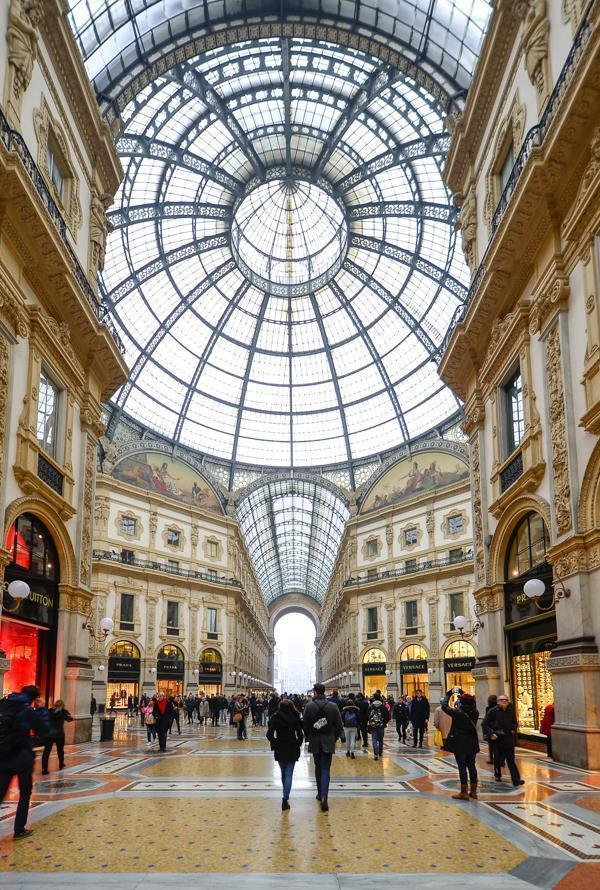 The Galleria Vittorio Emanuelle II is Milan's famous shopping gallery