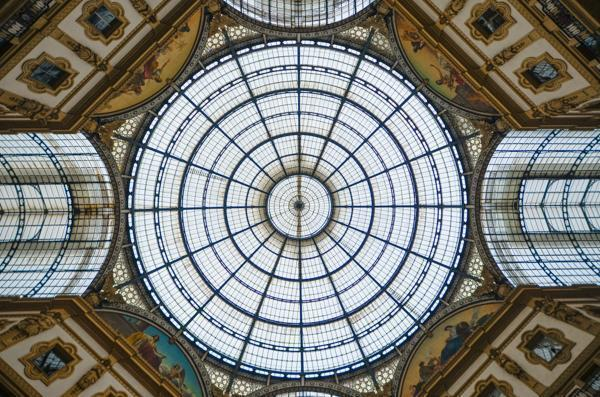 Under the glass dome of Milan's Galleria