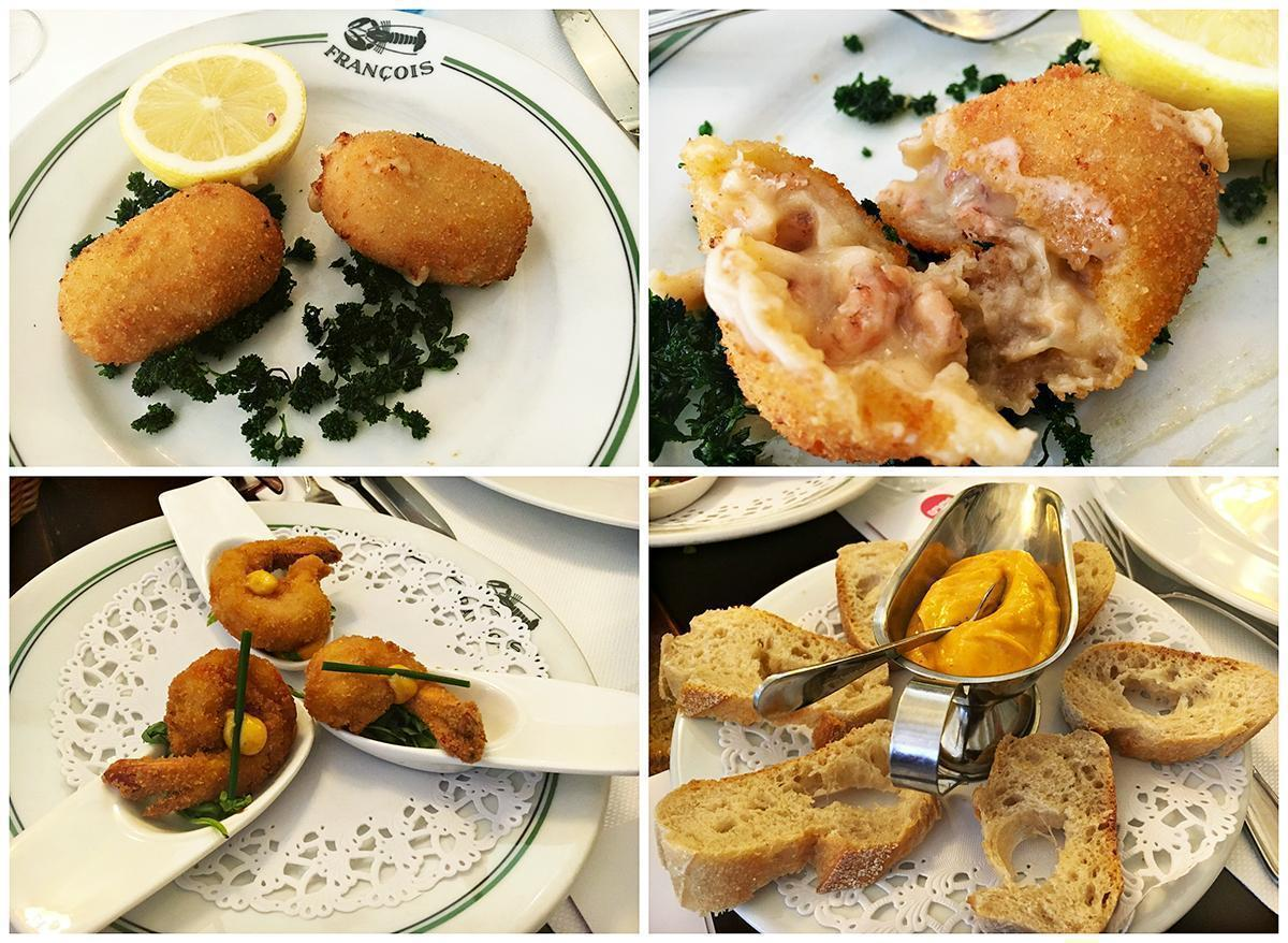 Belgian speciality, grey shrimp croquettes, with more shrimp, and bread with the special secret recipe mayonnaise at Restaurant Francois