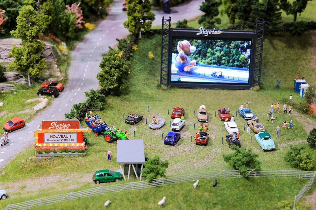 A mini drive-in showing a real movie at Mini World