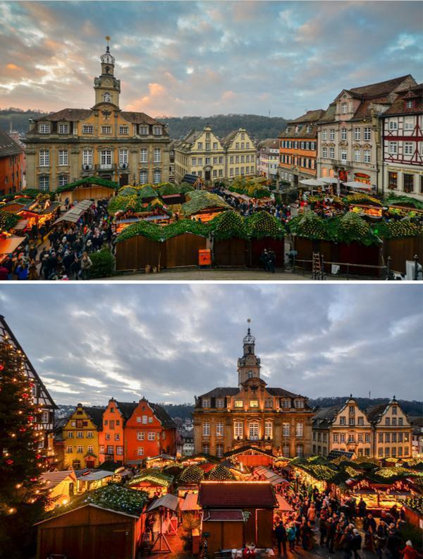 Weihnachtsmarkt Schwäbisch Hall by day and night