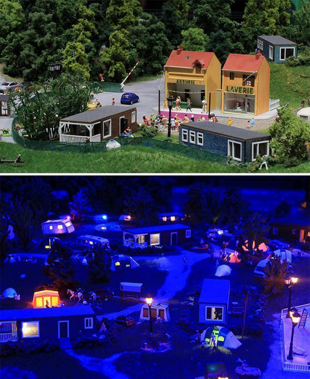 Mini World's crowdfunded campground by day and night