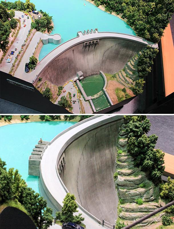 The Vouglans Dam, the only replica of a real place at Mini World Lyon