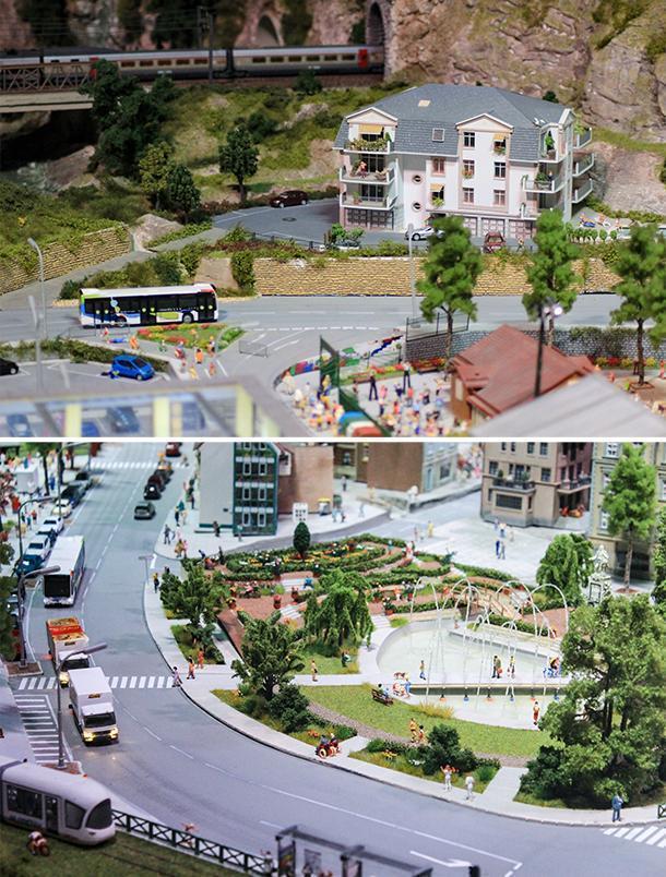 Bustling city streets at Mini World Lyon, France