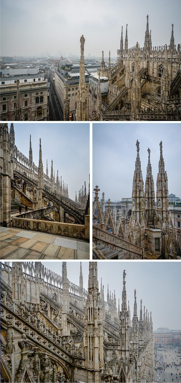 Even in the fog, it's worth visiting the Duomo's roof for a look at the intricate details