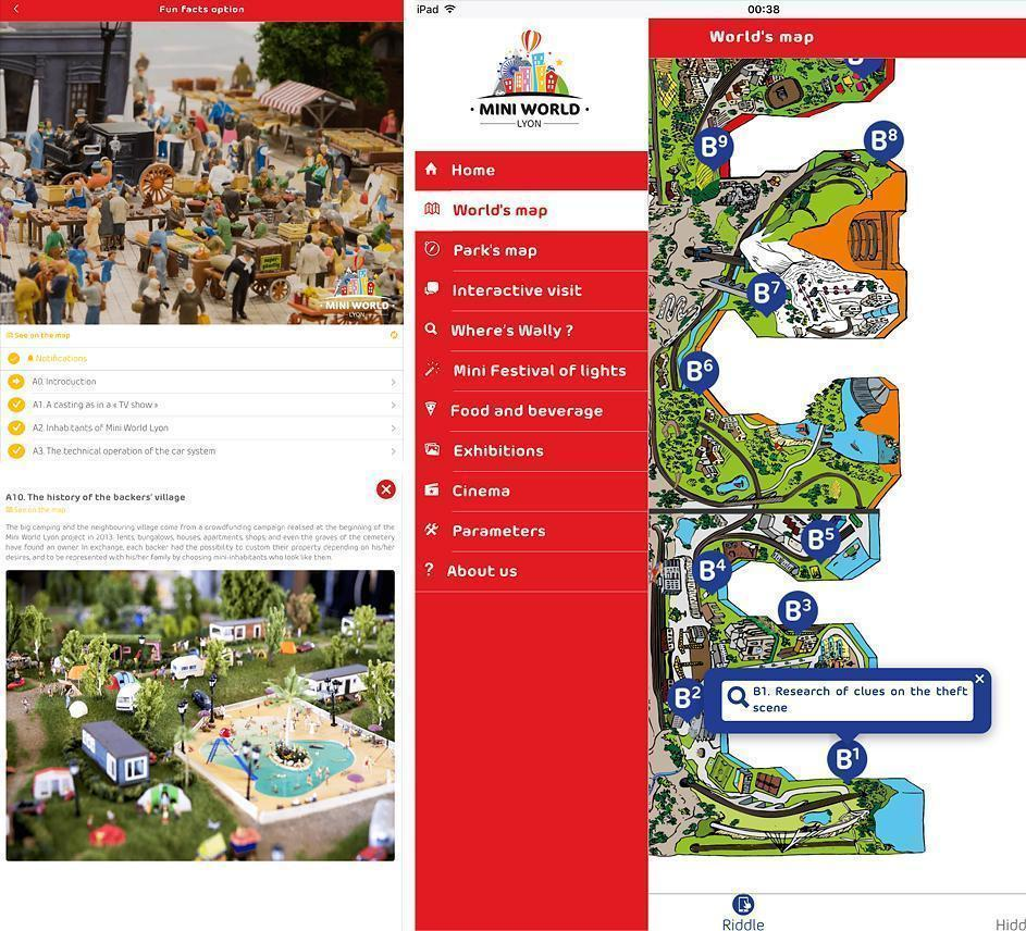 A trio of screenshots from the Mini World Lyon app for iOS
