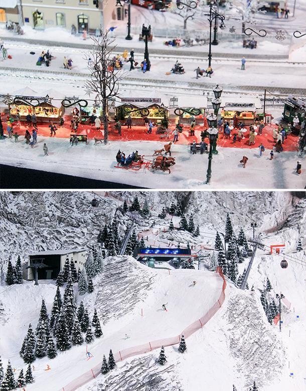 A Christmas Market and ski slop on Mini World Lyon's Mountain