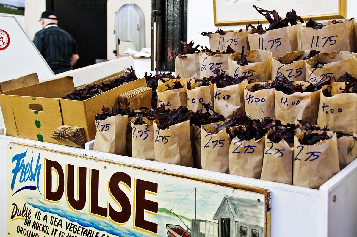 Bags of dried dulse for sale at the Saint John City Market in New Brunswick, Canada