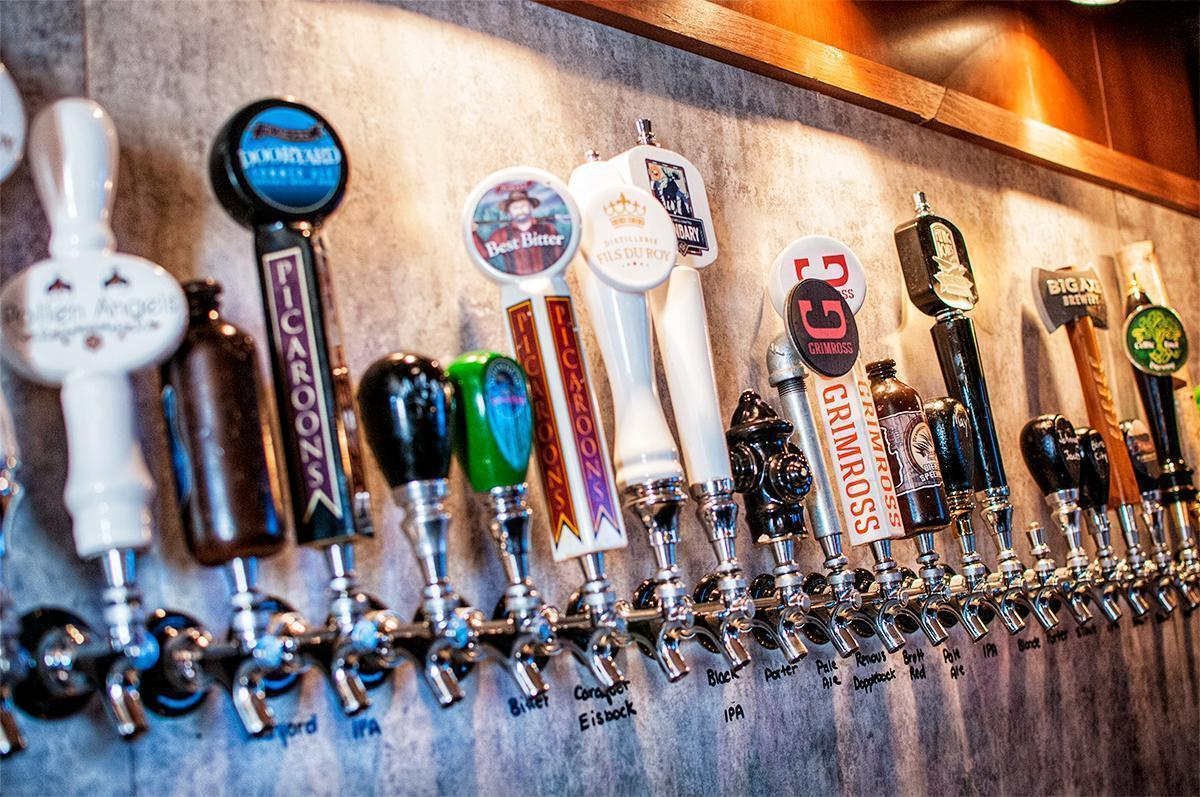 New Brunswick craft beer on tap at the James Joyce pub in Fredericton, NB, Canada