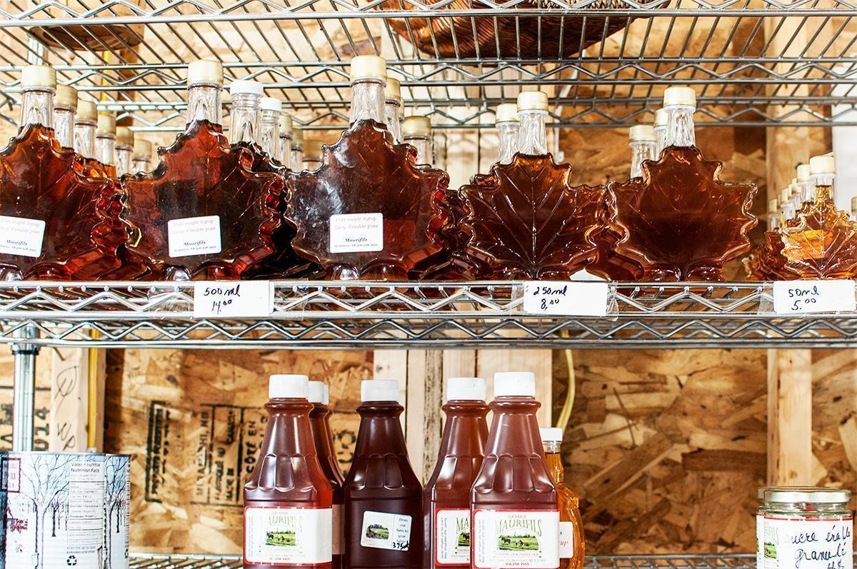 A variety of New Brunswick maple products for sale at a farm shop