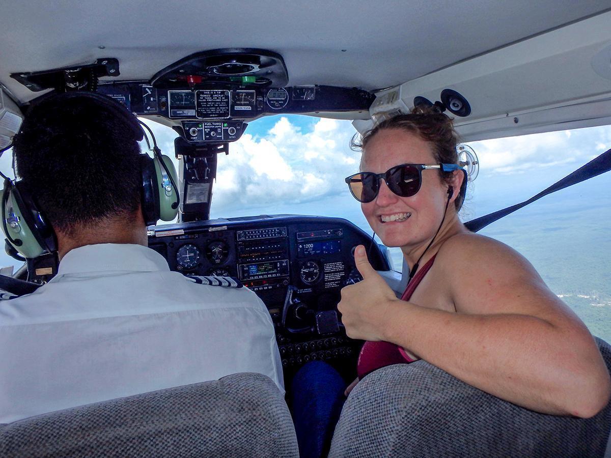 A new co-pilot on the flight from Kaieteur Falls, Guyana