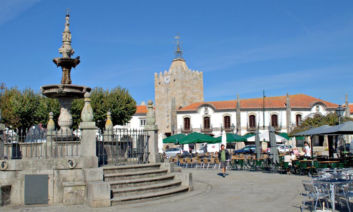 Outdoor cafes in the main square of Caminha, Portugal