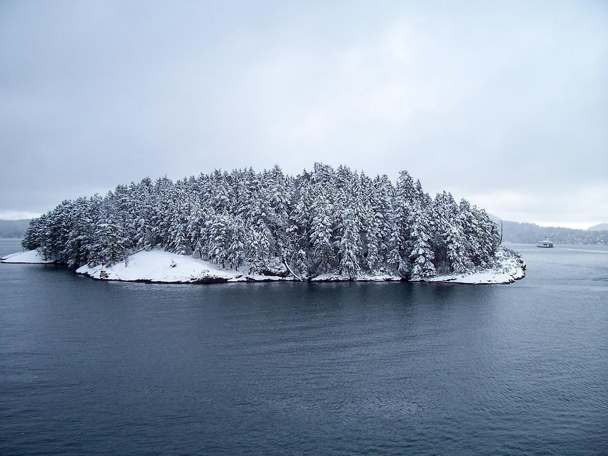 Even in winter, the views of the Gulf Islands from BC Ferries are impressive.