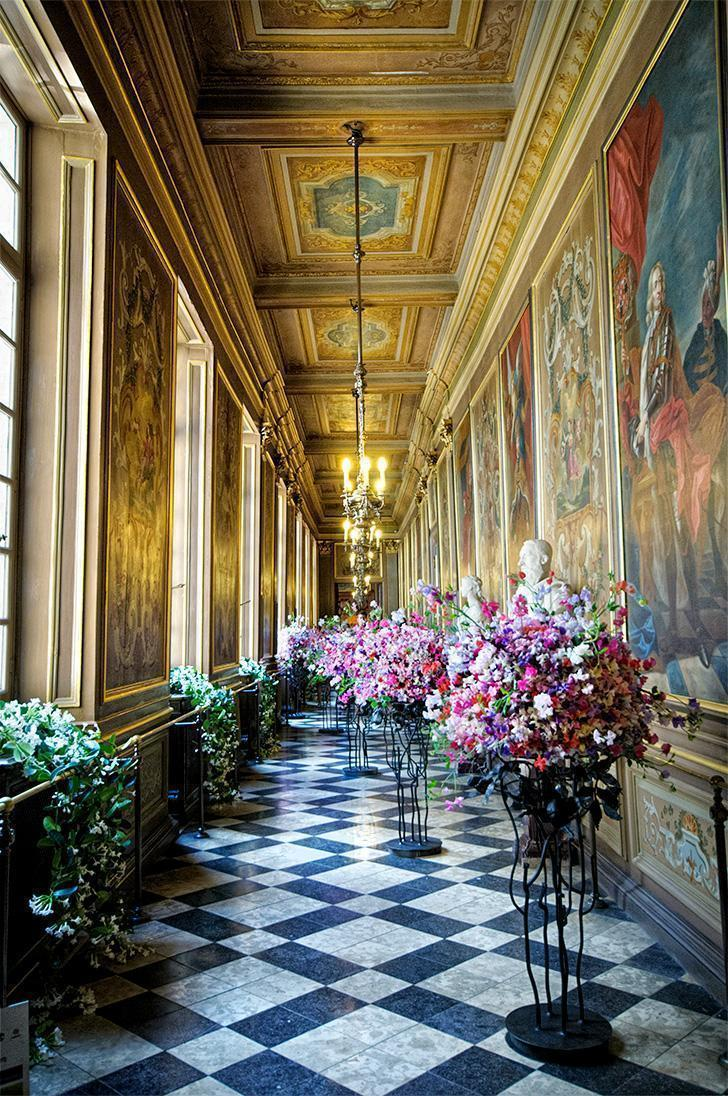 Inside the stunning Brussels City Hall building during Flower Time