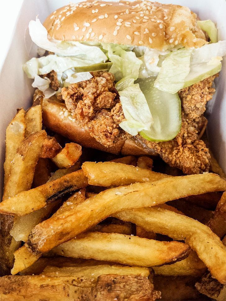 Fried chicken sandwich from Barred Rock in Uptown Saint John