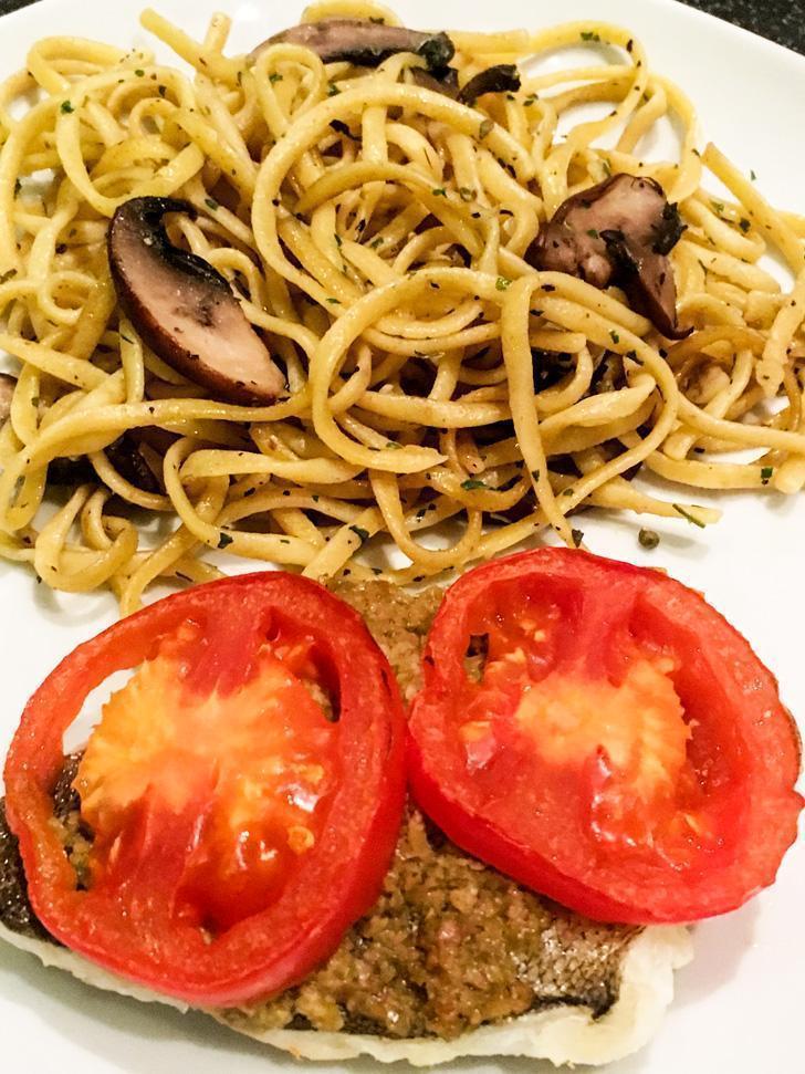 Portobello mushroom linguine and spinach burger from Efarmz