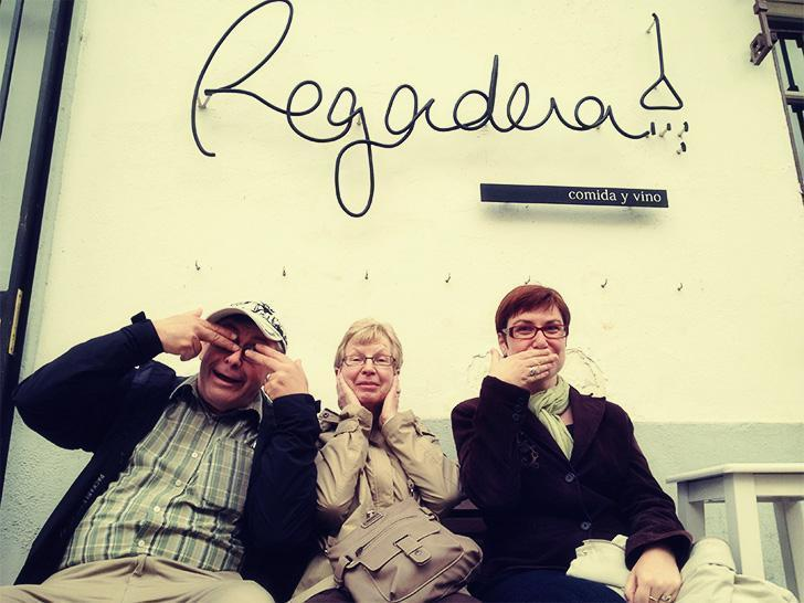 Hamming it up with my folks outside Regadera in Cordoba, Spain
