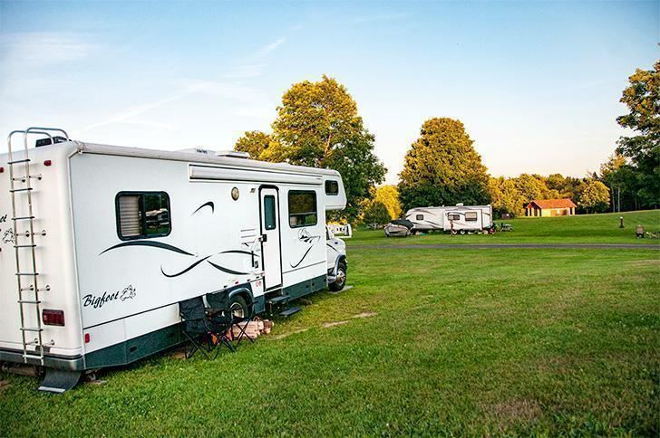 Our Motorhome, Yeti, enjoying the view at Mactaquac Provincial Park campground