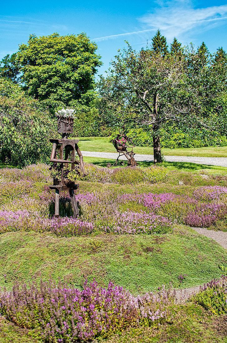 The maze and garden art at Kingsbrae Garden, St. Andrews, NB