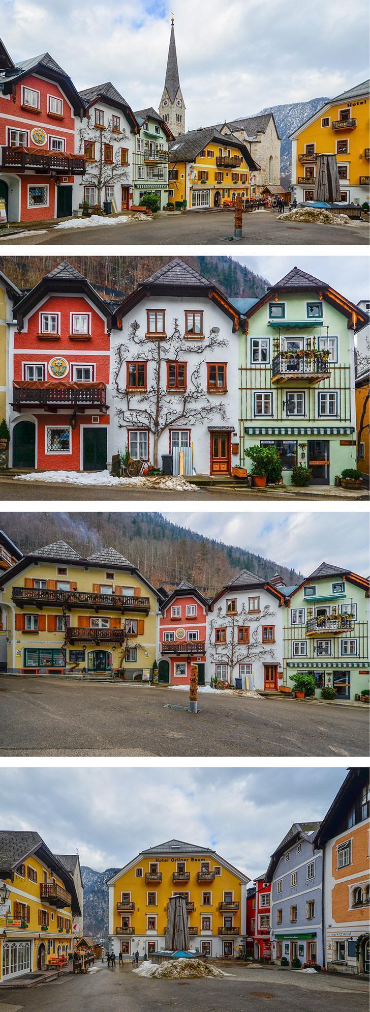 Walking around the Austria's charming town of Hallstatt in winter