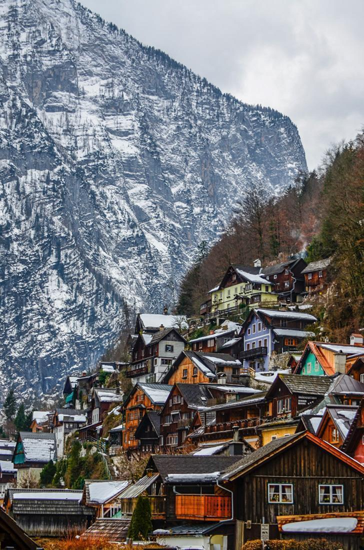 The colourful houses of Hallstatt, Austria pop in winter