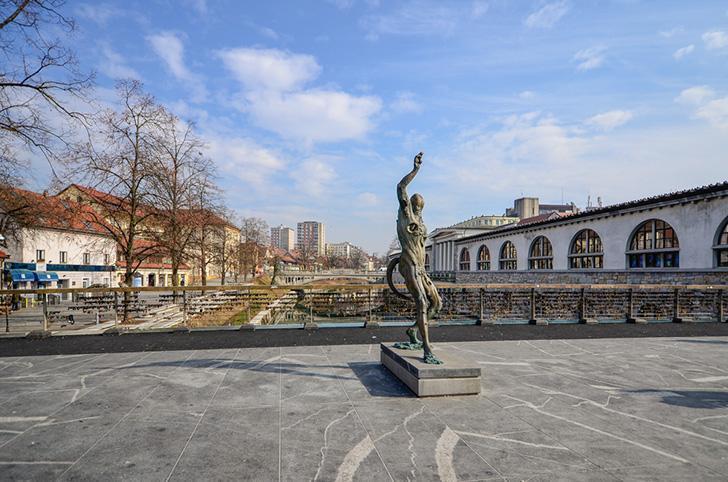 Prometheus on The Butcher's Bridge in Ljubljana