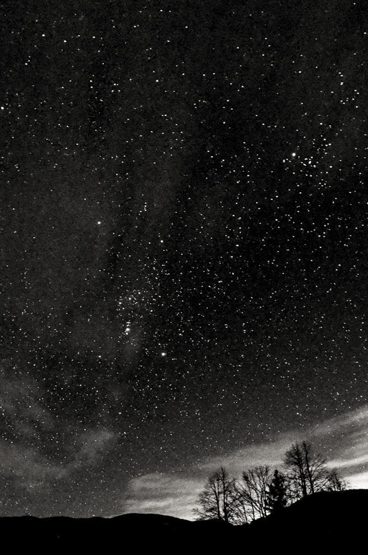A night sky full of stars in Idrija, Slovenia