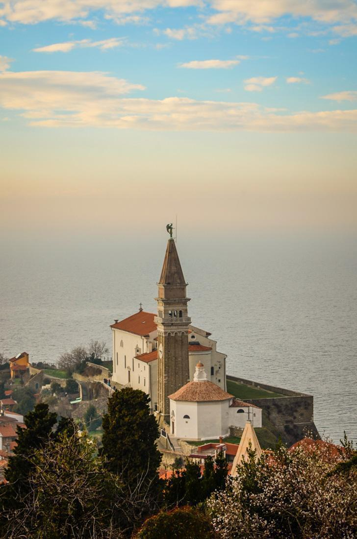 St. George's Roman Catholic Church overlooks the town of Piran, Slovenia