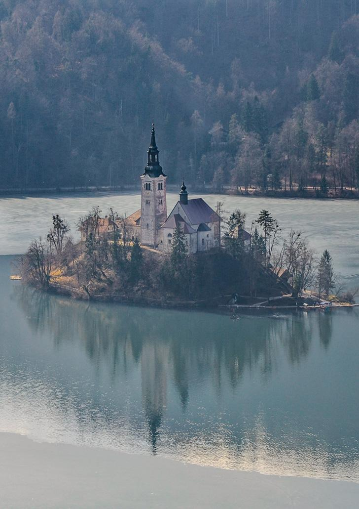 You can visit the island in the centre of Lake Bled by pletna.