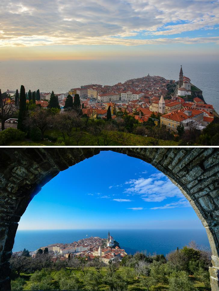 A visit to the walls of Piran offers a perfect view of the town.