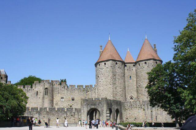 Most visitors enter Carcassonne's Le Cite through the Porte Narbonnais