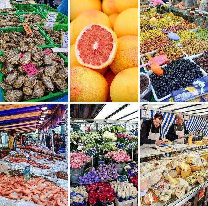 Everything a foodie could want at the Bastille food market in Paris, France