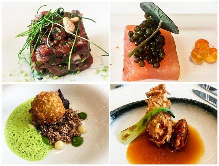 Hors d'oeuvres at Brugmann Brussels - Wagyu beef, salmon with caviar, shrimp croquettes and langoustine with Thai flavours