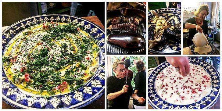 Making Baba Ghanoush: roasting the aubergines, mashing them, adding the Tahini paste, Tim taking out the pomegranate seeds followed by the final garnish of olive oil and parsley