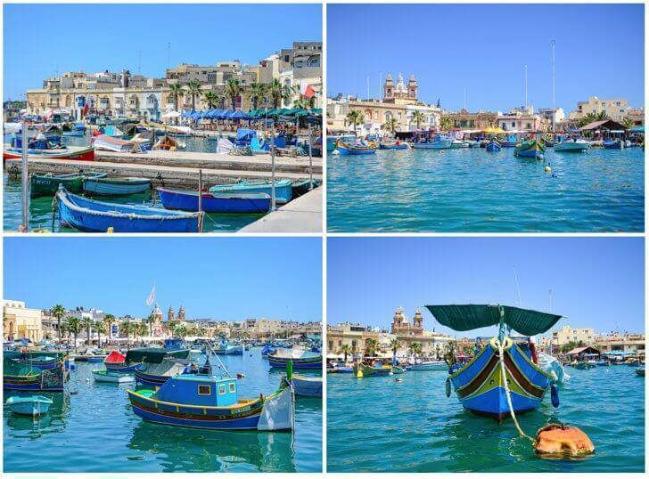 Marsaxlokk Harbor is filled with colourful fishing boats