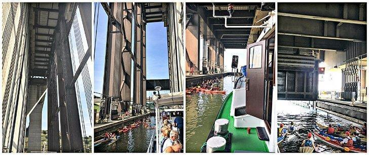 It was fun experiencing the Strepy Thieu boat lift Belgium, with kayakers