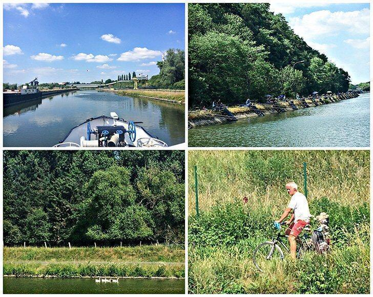 Taking in the picturesque views of the Belgian countryside from our boat tour