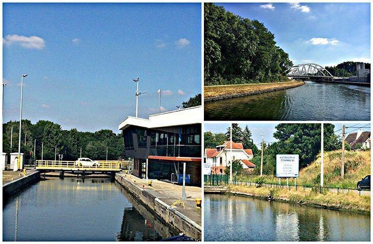 Navigating the water lock of Lembeek as we approach Brussels, Belgium