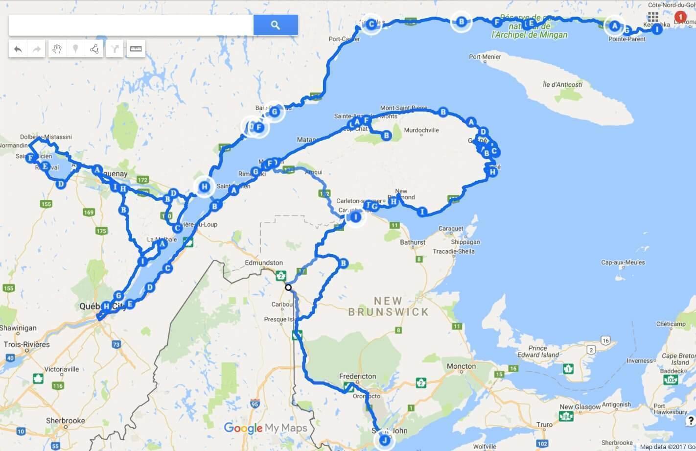 Our RV route through Quebec Maritime