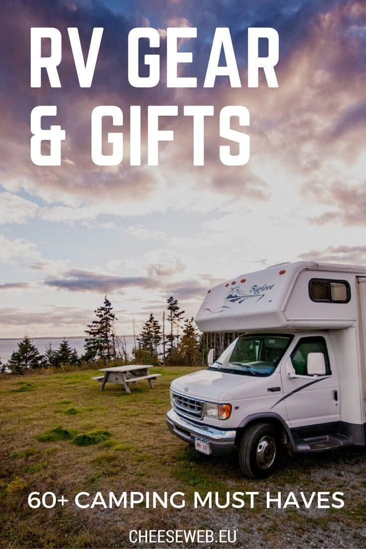 We share our must have camping gear for RV living. This is a roundup of our favourite fun camping accessories, RV gadgets, gifts, and cool RV accessories.